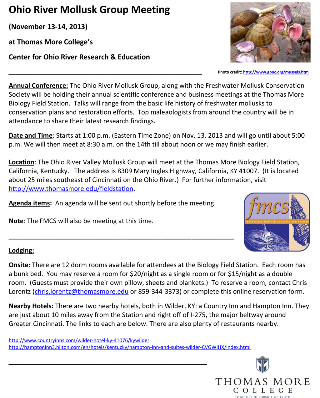 Thomas More College Biology Field Station Annual Conference Scheduled for Nov. 13 & 14