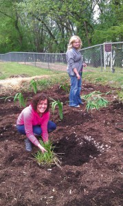 Gina and Maria on Earth Day at the Biology Field Station.