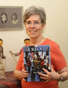 Joan (Higdon) Hegge with her copy of the spring 2015 Moreover