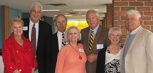 Jerry and Rita Bahlmann (center) with classmates at the 50th Anniversary Reunion for the Class of 1963, held in spring 2013. Pictured around them are Bonnie '63 (left) and Gerry '61 Thelen, Joe Detzel '63, and Madelaine and Lawrence Ries '63.