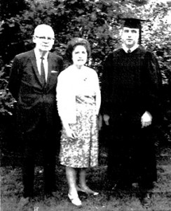 John and his parents the evening before his graduation.
