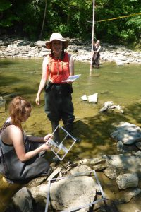 Interns Olivia and Arianna Riley doing a pebble count