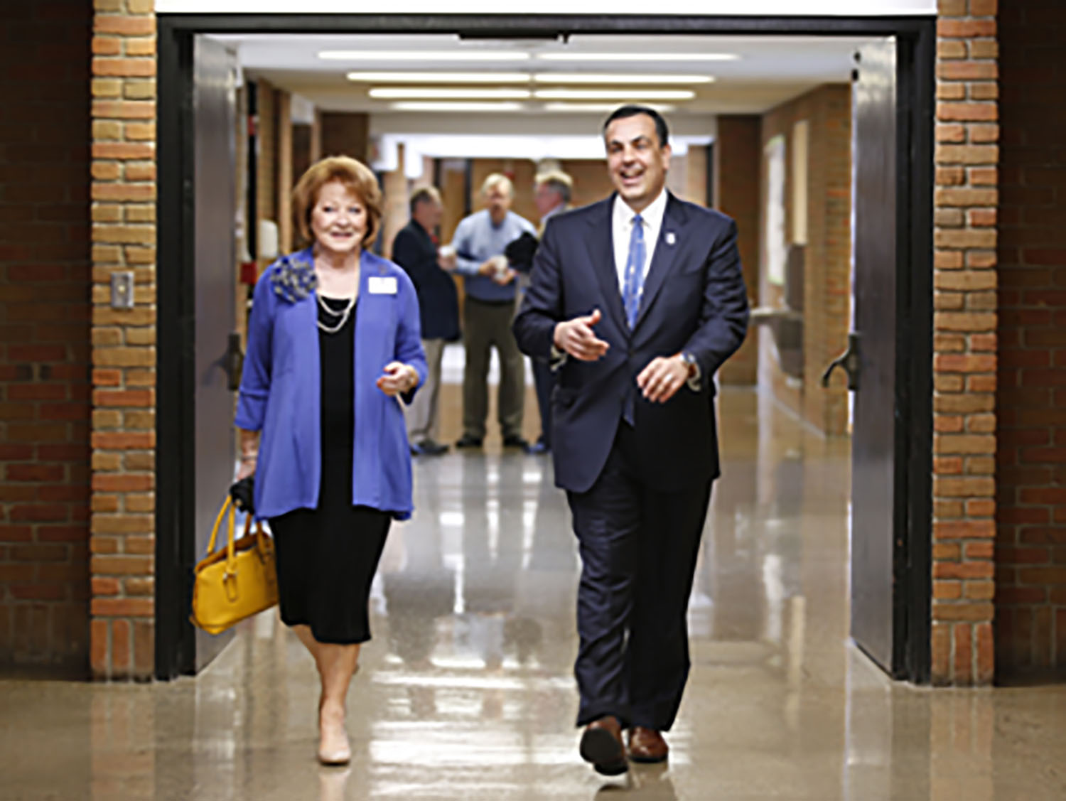 Incoming President, Joseph L. Chillo, LP.D., right, is photographed during a welcome ceremony on the Thomas More University campus in Crestview Hills, Ky.,Thursday, May 23, 2019.