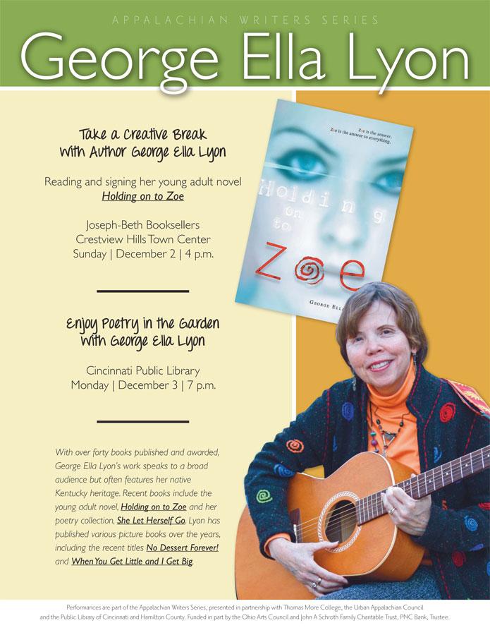 TMC Sponsors Literary Performances By Author George Ella Lyon Dec. 2 & 3 At Joseph Beth