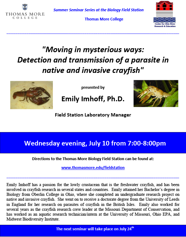 Thomas More College Biology Field Station Third Summer Seminar Scheduled for July 10