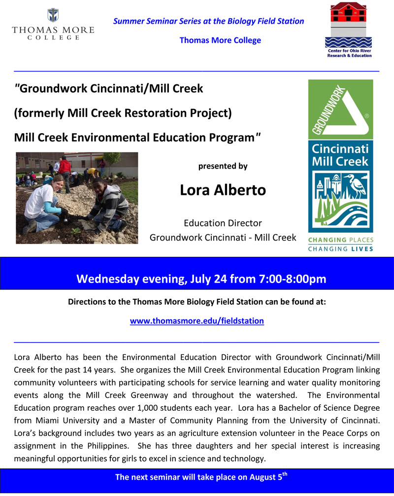 Thomas More College Biology Field Station Fourth Summer Seminar Scheduled for July 24