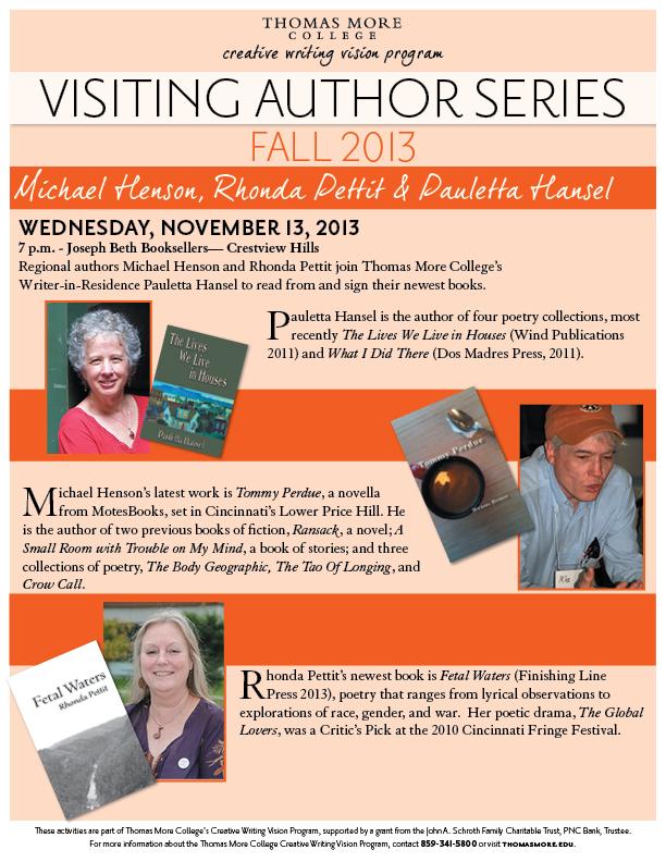 TMC Sponsors Reading by Regional Authors Michael Henson, Rhonda Pettit, and Writer-in-Residence Pauletta Hansel