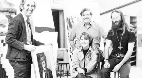Bernie Schmidt (center top) with art faculty from 1972-73. Photo courtesy Triskele.