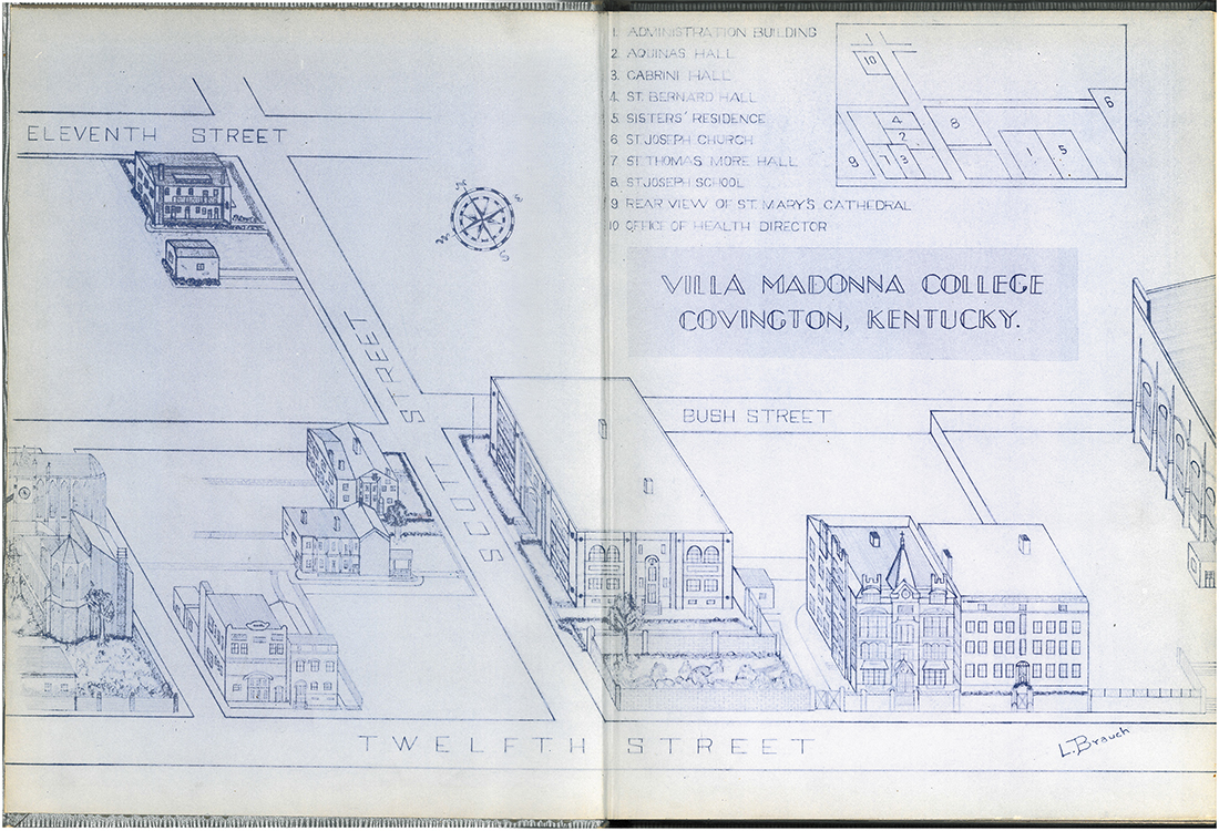 Inside front cover of an early Triskele outlined the VMC campus in Covington. Rendering courtesy Lawrence A. Brauch '50