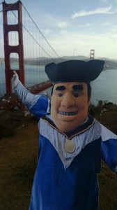 Flat Tommy enjoys a view of the Golden Gate Bridge.