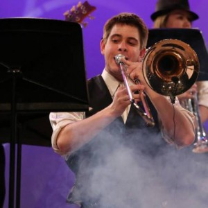 Brandon Shuey, trombone player for the Marching Saints