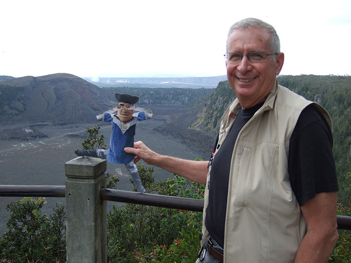 Tommy is getting ready to hike across the lava bed at Volcanoes National Park in Hawaii.