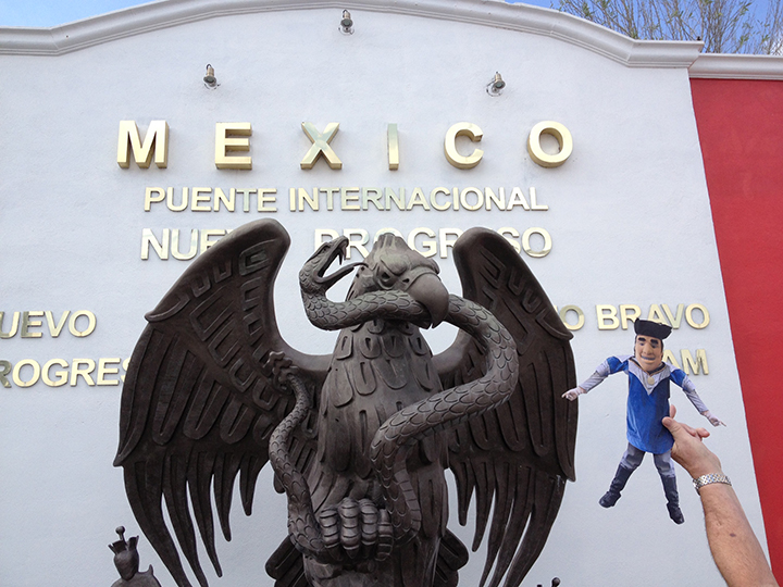 Life is good in Progreso, Mexico for Flat Tommy as he takes in the sights with Sandy Barry '06.