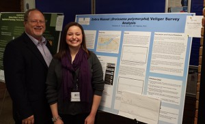 John Hageman, professor, biological sciences with Erin Rowekamp during the conference.