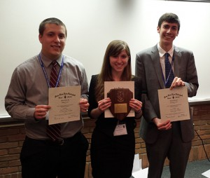 Andrew Merrill, Katie Hagedorn, and Kevin Burridge pose with their certificates after taking first, second, and third place awards in the cellular/molecular poster presentation.