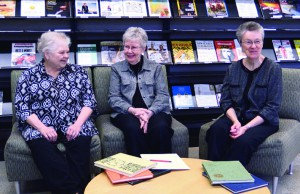 Sr. Deborah, Sr. Christa, and Sr. Mary Catherine in the newly named Benedictine Library during their interview.