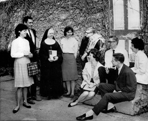 Members of the 1964 junior English Reading List class (Lou is bottom right) meeting with Sr. Loretto Marie.