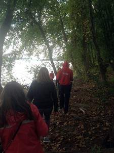 A walk along the Ohio River shore during the retreat. Photo by Abby Mattingly