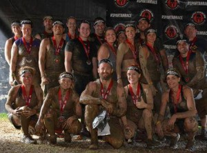 Team shot of participants in Crawford's group after completing the Spartan race.