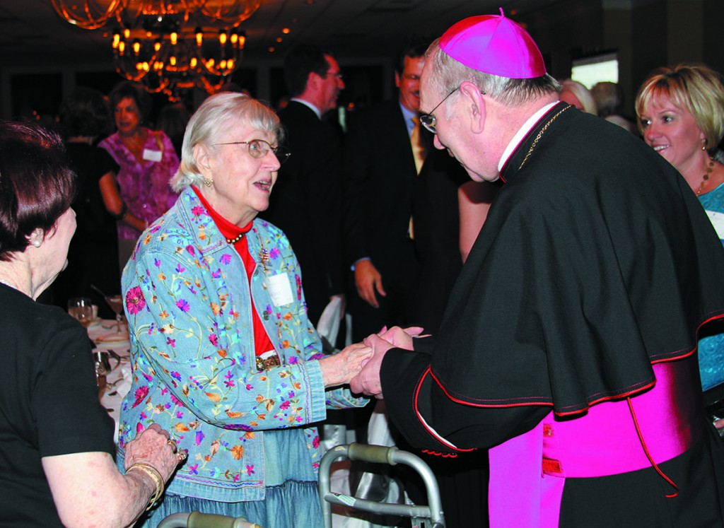Gen Ann Harris '45 with Bishop Roger J. Foys, D.D., at the President's Society Recognition Dinner in 2012.