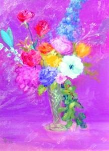 Oil painting of floral arrangement by Gen Ann Harris.