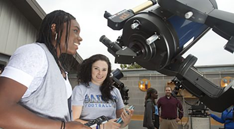 Students studying the sky at TMU's observatory