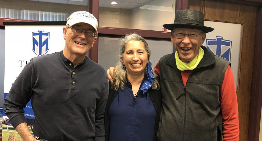 Photo from a visit to the Thomas More campus in April (after being vaccinated against COVID). John Hagan '67, Judy Crist, and Larry Israel '65.